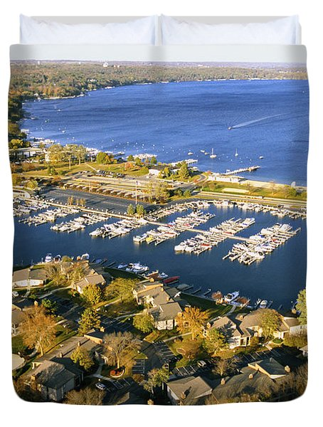 Aerial Of The Abbey Harbor - Fontana Wisconsin Duvet Cover