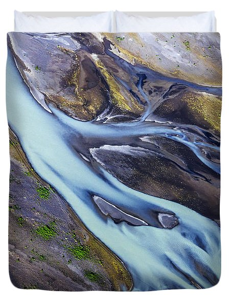 Aerial Photo Of Iceland  Duvet Cover