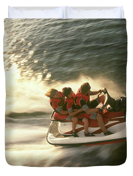 Aerial View A Family Racing Duvet Cover