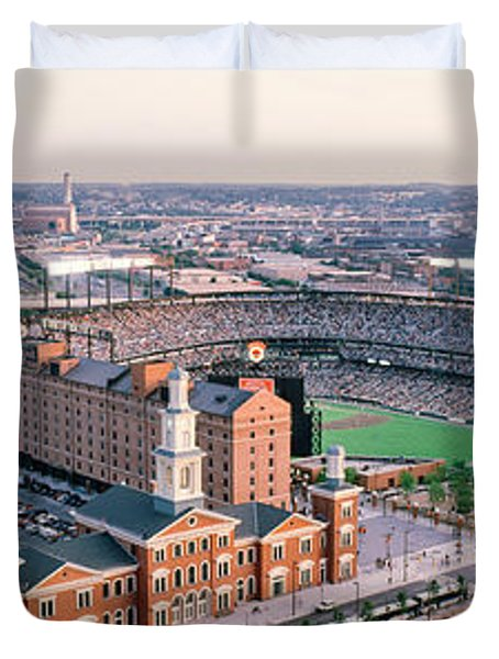 Aerial View Of A Baseball Field Duvet Cover