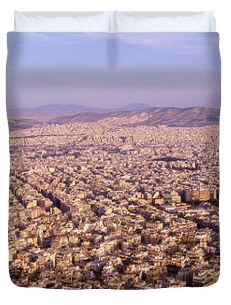 Aerial View Of A City, Athens, Greece Duvet Cover