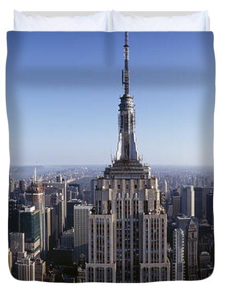Aerial View Of A Cityscape, Empire Duvet Cover by Panoramic Images