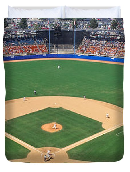 Aerial View Of A Stadium, Dodger Duvet Cover