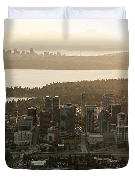 Aerial View Of Bellevue Skyline Duvet Cover