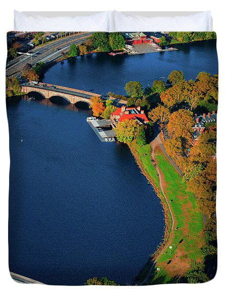 Aerial View Of Charles River With Views Duvet Cover