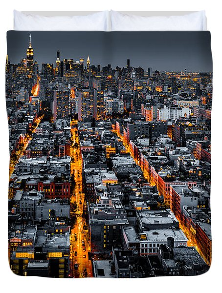 Aerial View Of New York City At Night Duvet Cover