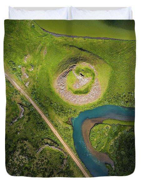 Aerial View Of Skutustadagigar Duvet Cover