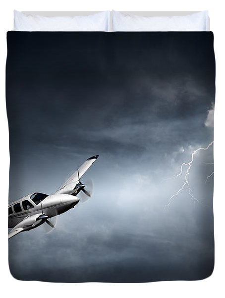 Risk - Aeroplane In Thunderstorm Duvet Cover