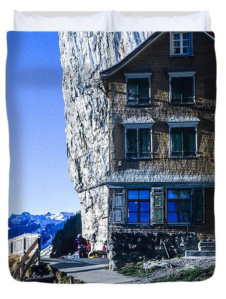 Duvet Cover featuring the photograph Aescher Hotel by Tina Manley