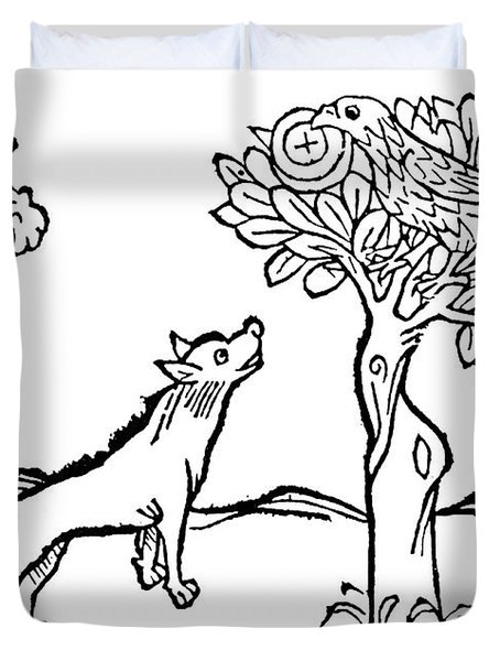 Aesop Fox And Crow Duvet Cover