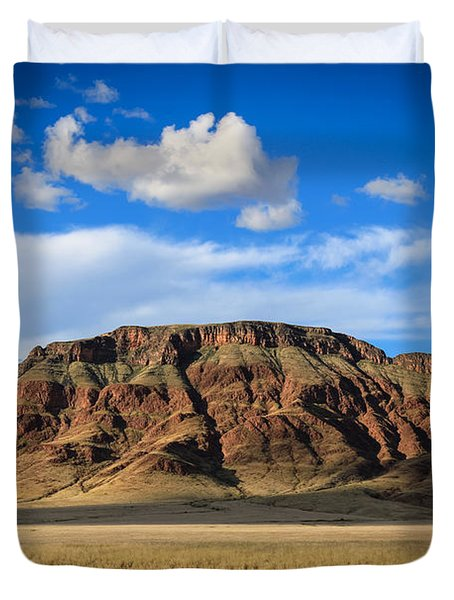 Aferican Grass And Mountain In Sossusvlei Duvet Cover