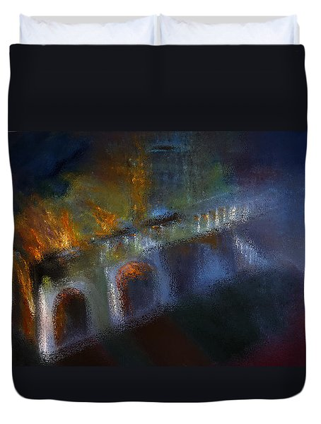 Duvet Cover featuring the painting Aflame by Lisa Kaiser