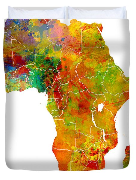 Africa Map Colored Duvet Cover