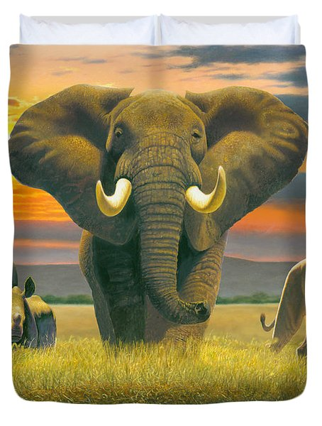 Africa Triptych Variant Duvet Cover by Chris Heitt