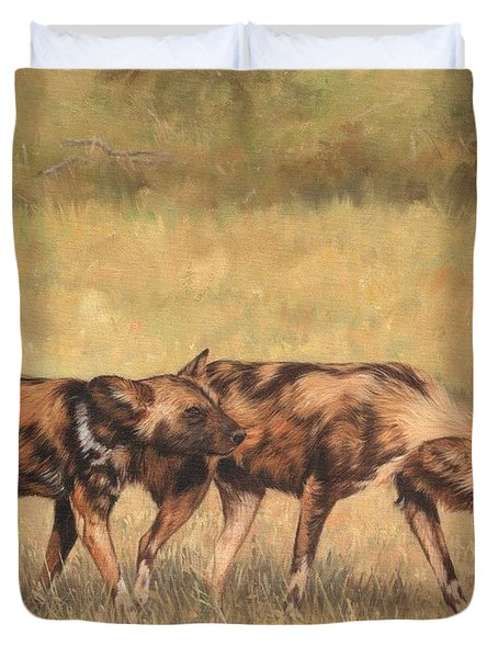 Africa Wild Dogs Duvet Cover by David Stribbling