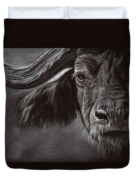 Duvet Cover featuring the drawing African Buffalo by Heidi Kriel