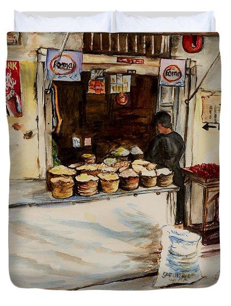 African Corner Store Duvet Cover by Sher Nasser