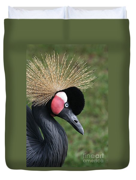 African Crowned Crane #2 Duvet Cover by Judy Whitton