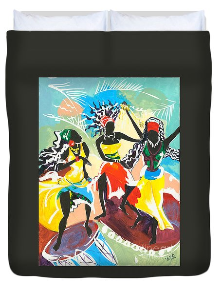African Dancers No. 4 Duvet Cover by Elisabeta Hermann