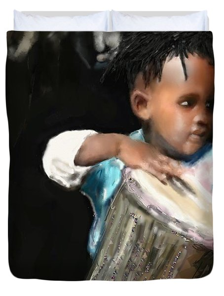 Duvet Cover featuring the painting African Drummer Boy by Vannetta Ferguson