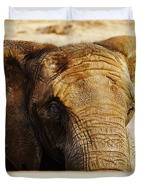 African Elephant Behind A Hill Duvet Cover