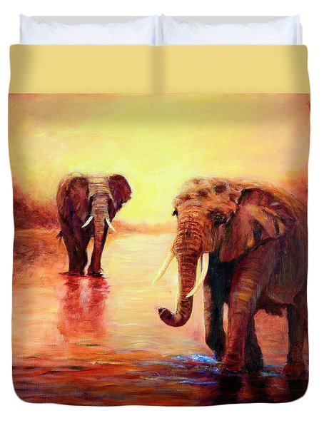 African Elephants At Sunset In The Serengeti Duvet Cover