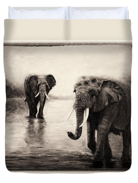 African Elephants At Sunset Duvet Cover