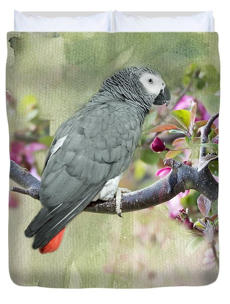 African Gray Among The Blossoms Duvet Cover