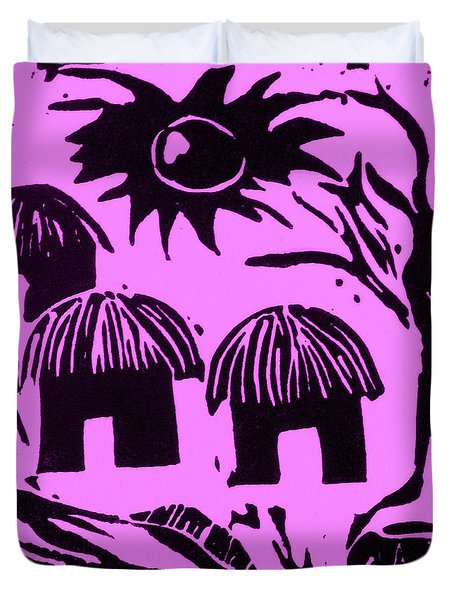 African Huts Pink Duvet Cover by Caroline Street