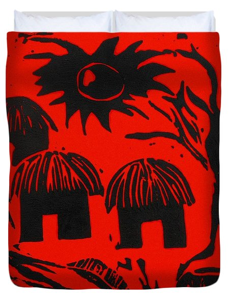 African Huts Red Duvet Cover by Caroline Street