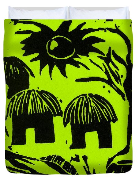 African Huts Yellow Duvet Cover by Caroline Street