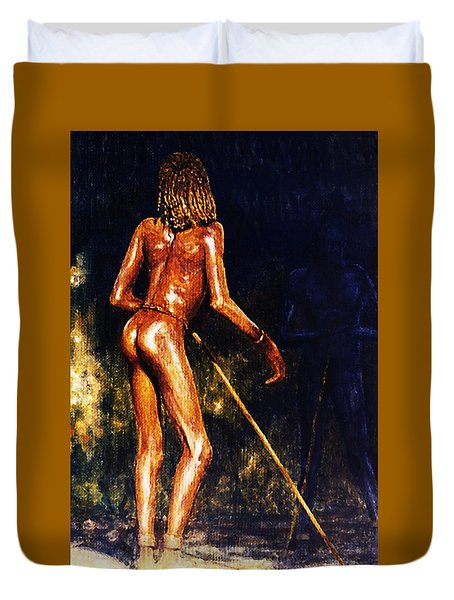 Duvet Cover featuring the painting African Lady by Hartmut Jager