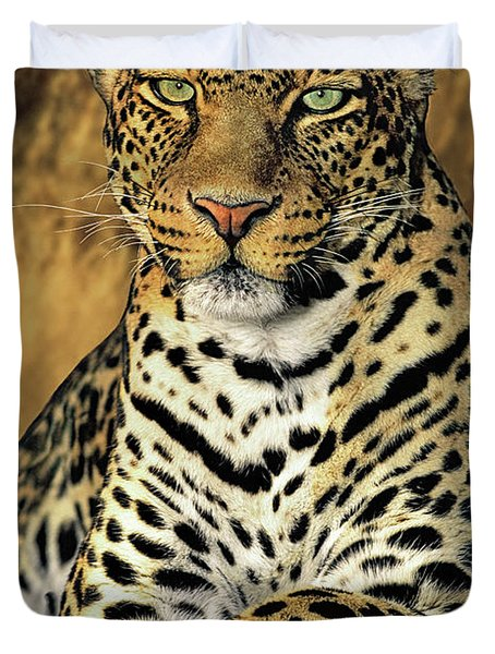 African Leopard Portrait Wildlife Rescue Duvet Cover by Dave Welling