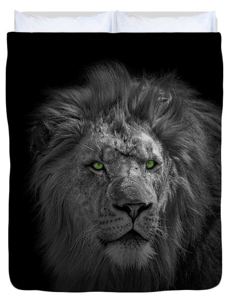Duvet Cover featuring the photograph African Lion by Peter Lakomy