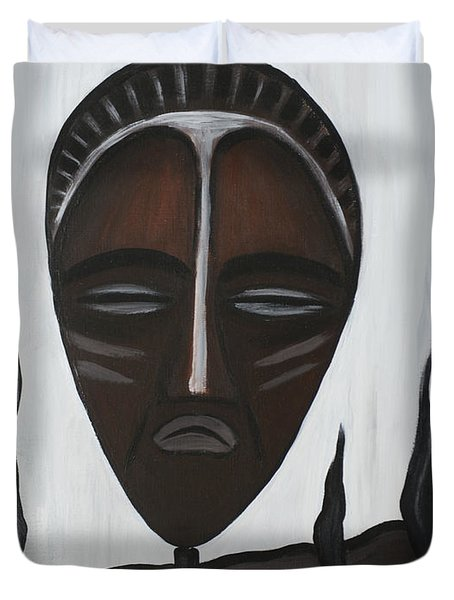African Mask II Duvet Cover by Eva-Maria Becker
