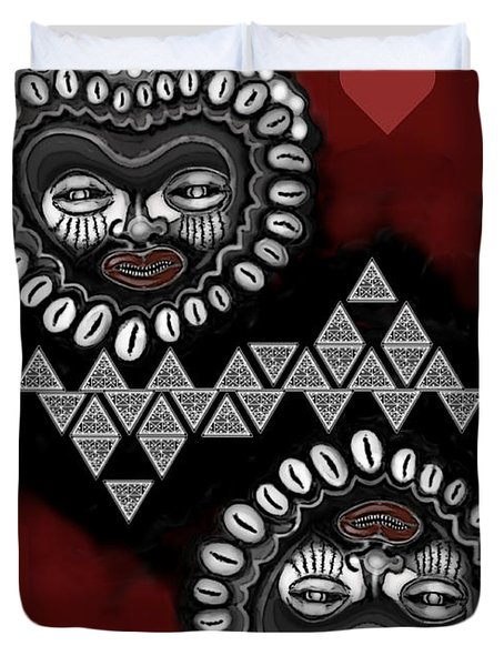 African Queen-of-hearts Card Duvet Cover by Carol Jacobs