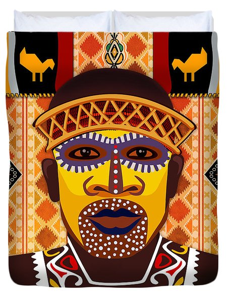 African Tribesman 2 Duvet Cover by Peter Awax