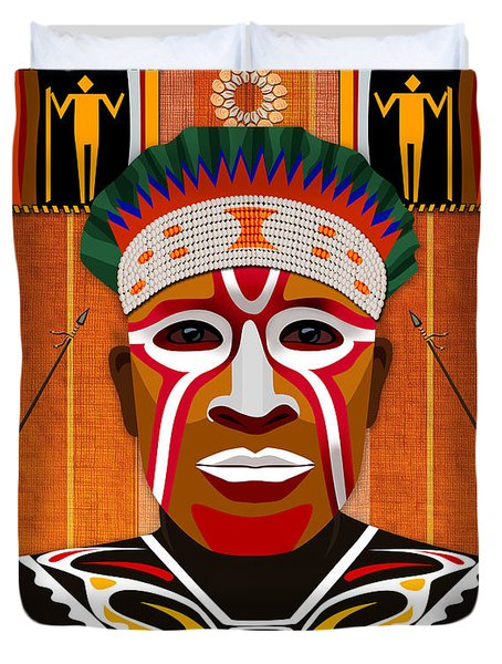 African Tribesman 3 Duvet Cover by Bedros Awak