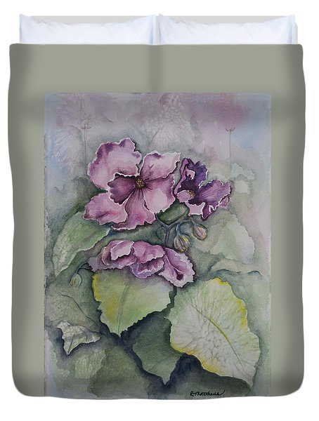 African Violets Duvet Cover by Rebecca Matthews