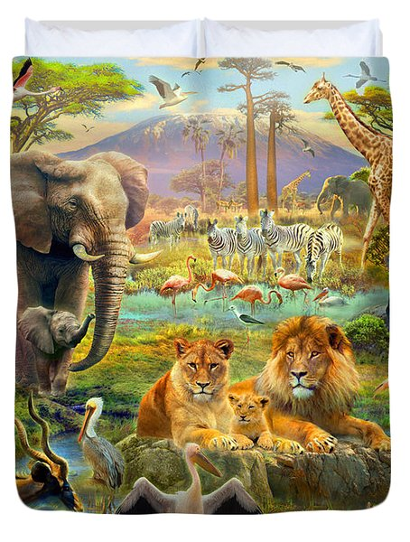 African Watering Hole Duvet Cover