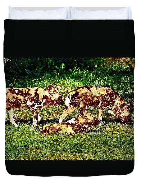 African Wild Dog Family Duvet Cover by Miroslava Jurcik
