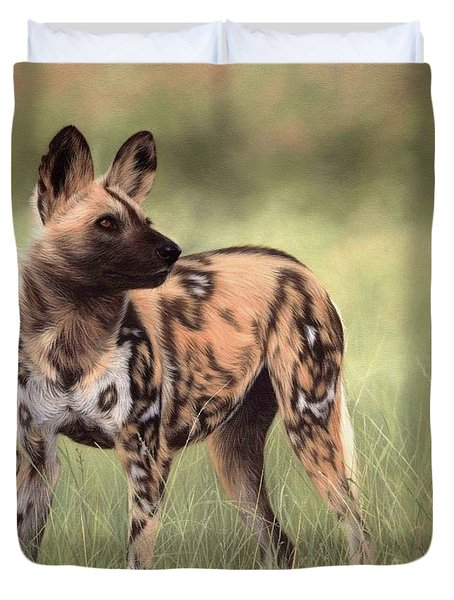 African Wild Dog Painting Duvet Cover