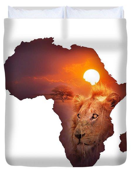 African Wildlife Map Duvet Cover