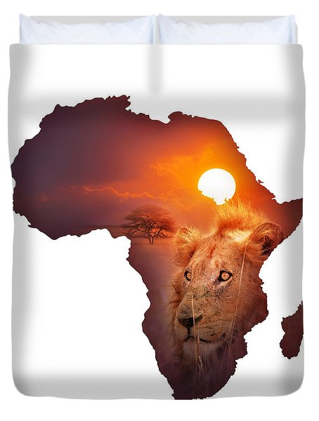 African Wildlife Map Duvet Cover