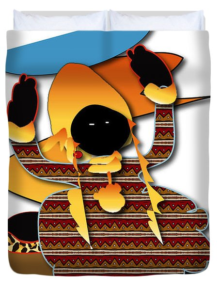Duvet Cover featuring the digital art African Worker by Marvin Blaine