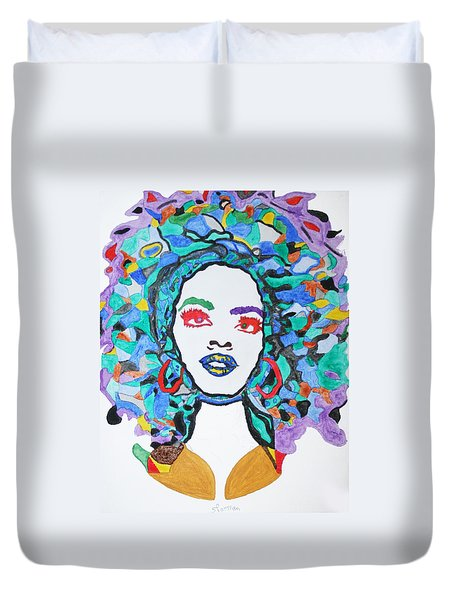 Duvet Cover featuring the painting Afro Lauryn Hill  by Stormm Bradshaw