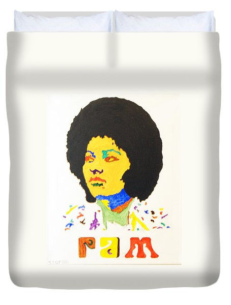 Duvet Cover featuring the painting Afro Pam Grier by Stormm Bradshaw