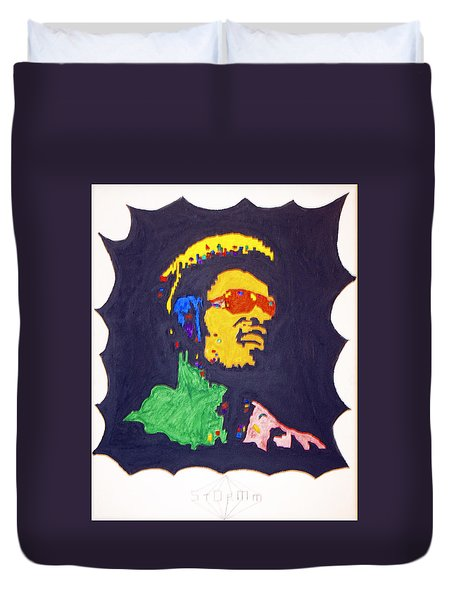 Duvet Cover featuring the painting Afro Stevie Wonder by Stormm Bradshaw