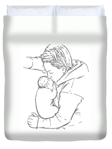 Duvet Cover featuring the drawing After A Long Journey by Olimpia - Hinamatsuri Barbu