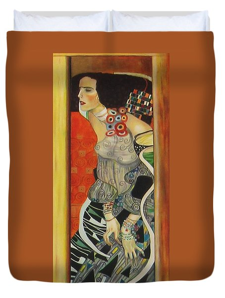 Duvet Cover featuring the painting After Gustav Klimt by Sylvia Kula
